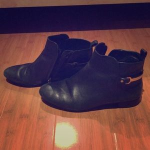 Tory Burch Leather Booties with Gold back buckle